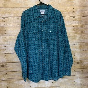 Wrangler Wrancher shirts pearl snap button up 2XL